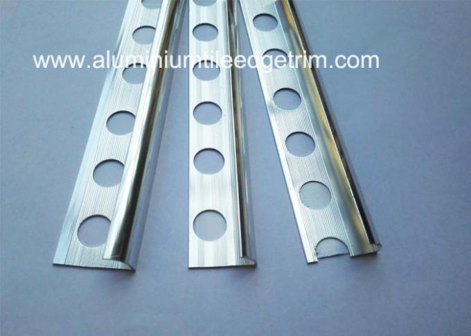 aluminium bullnosed tile trim with anodized polished silver effect