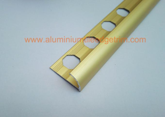 anodized matt gold aluminium round edge tile trim