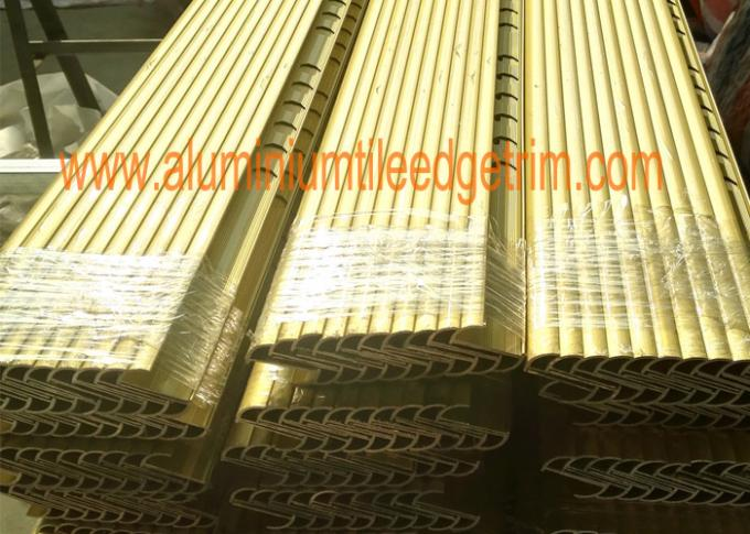 matt gold aluminium tile trim profile in shrink film