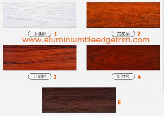 Non - Formaldehyde Aluminium Skirting Board Corner Covers Profile Wood Grain Effect
