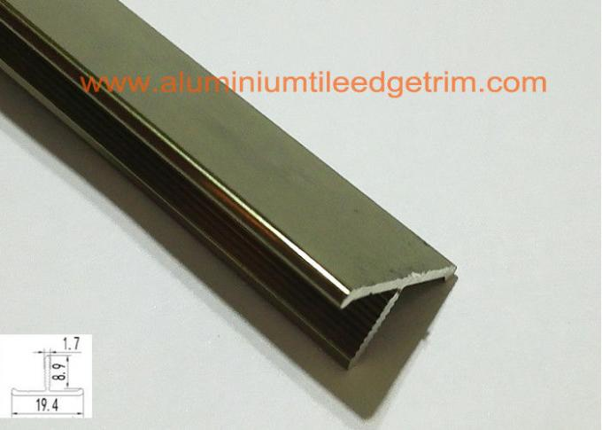T Shaped Aluminium Floor Trims , Metal Floor Divider Polished Champagne Color