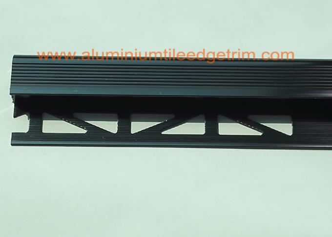 anodized black metal stair nosing