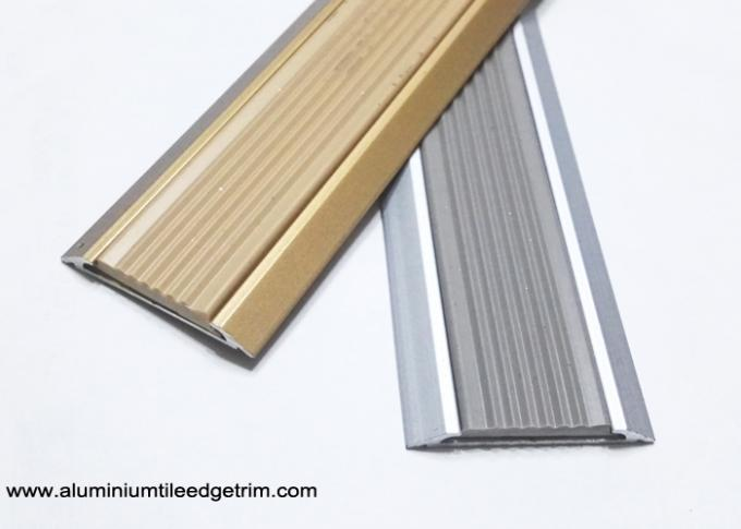 flat aluminium threshold strip with anti slip rubber insert