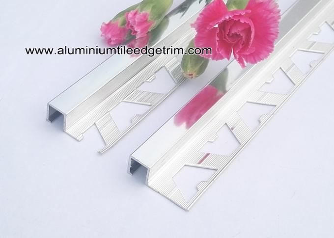 bathroom polished chrome square edge tile trim