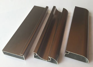 China Anti Rust Aluminum Cabinet Door Extrusion / Frame Extrusions Coffee Color supplier