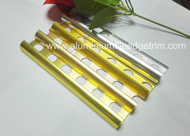 China Gold Polished Aluminium Tile Edge Trim , Extruded Bathroom Tile Metal Trim supplier
