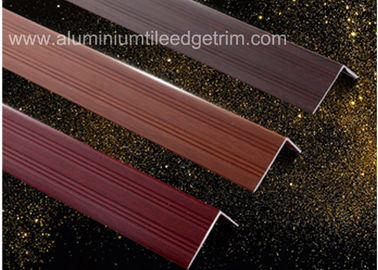 China Wood Grain Color Aluminium Angle Trim Profile For Laminate Flooring Edge supplier