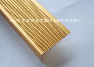 China Solid Anodized Brass Aluminum Stair Nosing Profiles , Metal Stair Nosing For Wood Stairs supplier