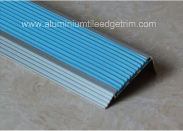 China Non Slip Aluminum Stair Nosing , Metal Stair Nose Trim With Insert PVC Rubber supplier