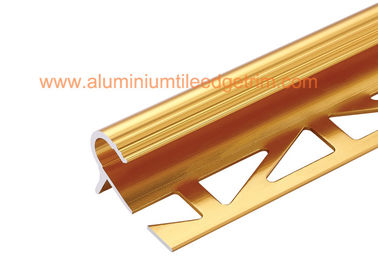 China 10mm Round Edge Aluminium Anti Slip Stair Nosing Reduce Trip Hazards Matt Gold Color supplier