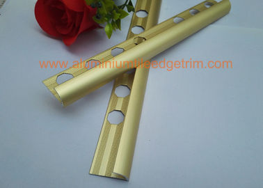 China Matt Golden Round Aluminium Tile Edge Trim 10mm X 2500mm For  Ceramic Tile Corner supplier