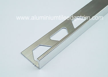 China 8mm Chrome L Shaped Aluminium Tile Edge Trim Shiny Anodized Silver For Wall Corner supplier