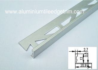 China Satin L Shaped Floor Trim Aluminium Edging Strip Matt Silver 12mm Anodized Finish supplier