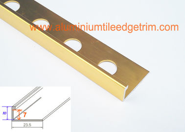 China Shiny Gold Aluminium Tile Edge Trim , Metal Edging For Ceramic Tile 7mm Inside Height supplier