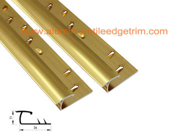 China Gold Aluminium Carpet Trim , Carpet To Tile Door Bar / Reducer / Threshold Strip  supplier