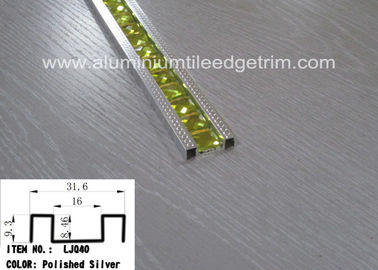 China Polished Silver Glass Mosaic Tile Trim Aluminium Alloy Edge Corrosion Resistant supplier