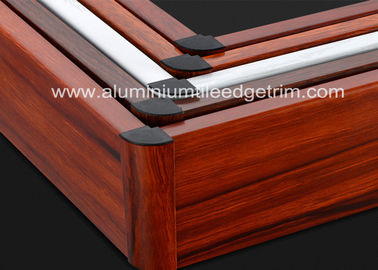 China Non - Formaldehyde Aluminium Skirting Board Corner Covers Profile Wood Grain Effect supplier