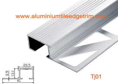 China Architectural Aluminum Stair Nosing , Grooved Safety Tread Stair Nosings For Carpet supplier