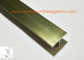 China T Shaped Aluminium Floor Trims , Metal Floor Divider Polished Champagne Color supplier