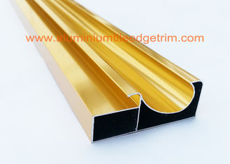China Electrophoretic Coated Gold Aluminium Cabinet Door Profiles 0.4mm-20mm Thickness supplier