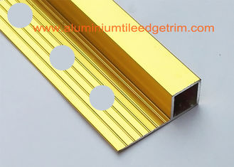 China High Gloss Polished Gold Aluminium Square Edge Ceramic Tile Trim 10mm x 2m Length supplier
