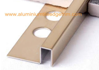 China Gold Mirror Stainless Steel Tile Trim 12mm , Stainless Steel Square Edge Tile Trim supplier