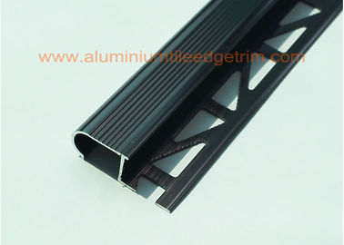China Anodized Black Metal Stair Nosing For Tile With Curved Edge Long Lifespan supplier
