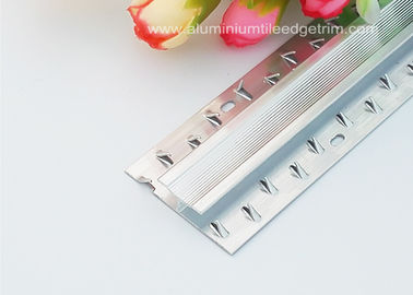 China 6063T5 Aluminium Carpet Dual Edge / Joint Strip Shiny Silver Effect supplier