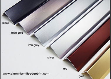China Anodized Effect Angle Shaped Aluminium Floor Trims For Home / Drywall / Countertops supplier