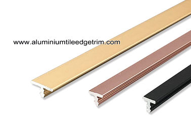 China Anodised Aluminium T Moulding Trim Profile For Display Cabinet / Wardrobe Door supplier