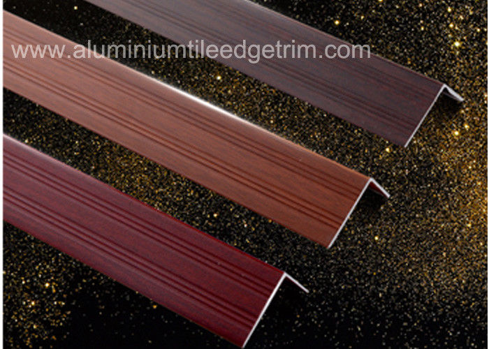 Wood Grain Color Aluminium Angle Trim Profile For Laminate Flooring Edge
