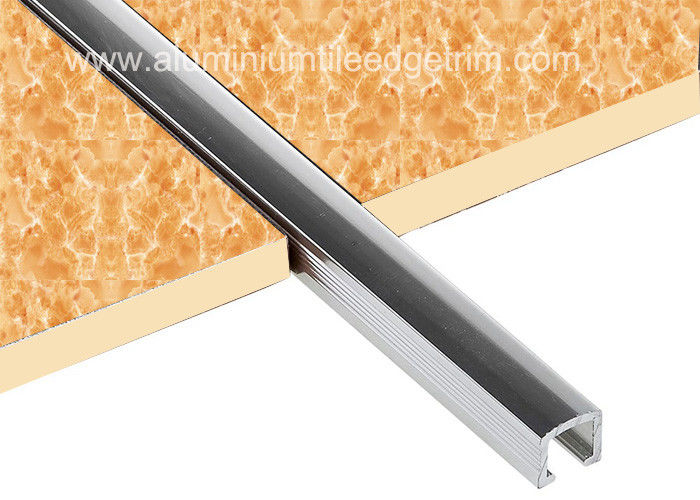 10mm Chrome Listello Tile Trim Aluminium U Shaped Bar Border