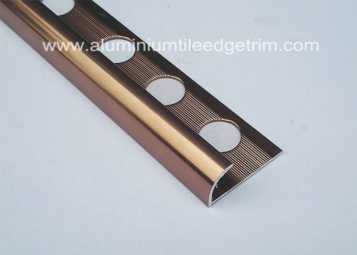 Polished Coffee Effect Metal Bullnose Tile Edging Trim 10mm Inside Height