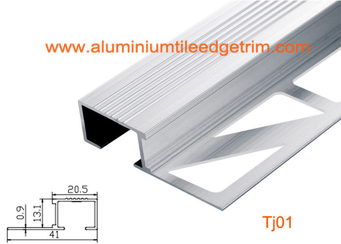 Architectural Aluminum Stair Nosing , Grooved Safety Tread Stair Nosings  For Carpet