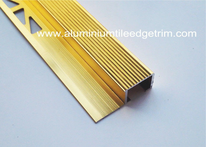 Brushed Metal Aluminum Stair Nosing , Ti Gold Metal Stair Bullnose For  Ceramic Tile