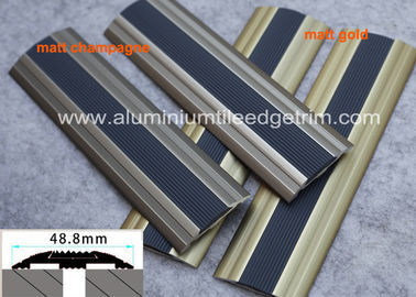 Flat Aluminium Floor Trims Cover Strip Anti Slip PVC Rubber For Same Height Step