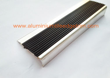 Anti Slip Aluminum Stair Nosing , Stair Safety Treads Nosings With Black PVC Rubber