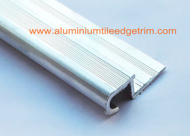Round Edge Silver Tile Bullnose Stair Nosing Profile Natural Aluminium Color For Terrace