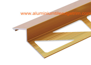 Anodized Gold Aluminium Carpet To Wood Floor Transition Trim Profile 0.8-2mm Thickness