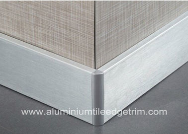 China Silver Brushed Aluminium Skirting Boards Floor Decoration 60mm / 80mm / 100mm Height factory