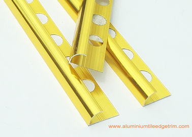 Round Anodized Aluminium Tile Edge Trim Polished Gold 10mm x 2.5mm