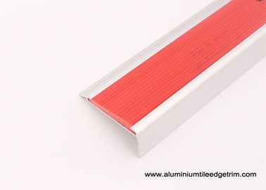 Extruded Aluminum Stair Nosing With Non Slip PVC Rubber , Metal Stair Edge Protectors