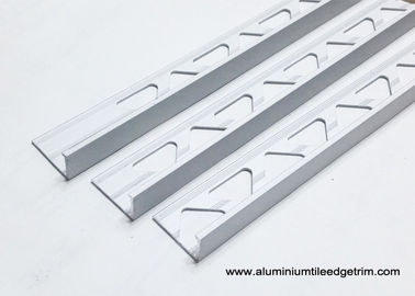 10mm 3 / 8 In Depth L Angle Aluminium Tile Edge Trim With Matt Silver