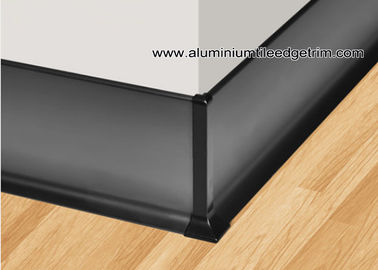 China Kitchen / Bathroom Bottom Line Aluminium Skirting Board Matt Black 60mm / 80mm / 100mm factory