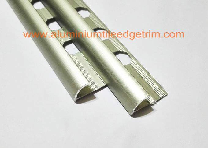 10mm aluminium rounded edge tile trim satin matt champagne
